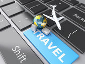 Suitcase, airplane and earth on computer keyboard. Travel concep — Stock Photo