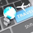 Suitcase, airplane and earth on computer keyboard. Travel concep — Stock Photo #61090339
