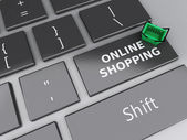3d Shopping basket on computer keyboard. Online shopping concept — Stock Photo