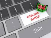3d Shopping basket  with red cubes on computer keyboard. Online  — Foto de Stock