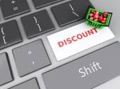 3d Warenkorb mit rote Würfel auf der Computertastatur. Online — Stockfoto