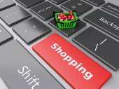 3d Shopping basket  with red cubes on computer keyboard. Online — Stock Photo