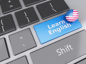 3d Learn English on computer keyboard. Education concept — Stock Photo