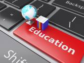 3d books and earth icon on computer keyboard. Education concept. — Stock Photo