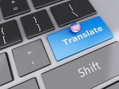 3d english translation button on Computer Keyboard. Translating  — Stock Photo