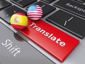 3d translation button on Computer Keyboard. Translating Concept. — Stock Photo