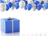3d gift box with blue and white baloons on white background — Stock Photo