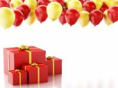 3d gift box with red and yellow baloons on white background — Stock Photo
