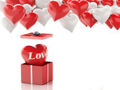 3d red heart in a gift box and Heart balloons. Valentines Day co — Stock Photo