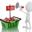 3d man sale announcement with megaphone and shopping basket. — Stock Photo #62381785