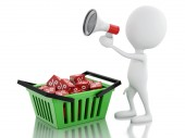 3d man sale announcement with megaphone and shopping basket. — Stock Photo