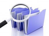 3d magnifying glass and computer files — Foto Stock