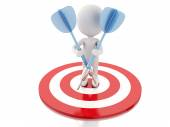 3d white people with darts and target. success in business — Stockfoto