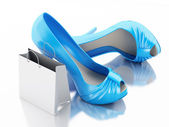 Women high heel shoes with Shopping bag 3d. — Foto de Stock