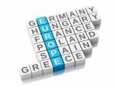 3d europe concept. Crossword with letters — Stock Photo