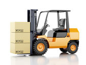 3d forklift truck with cardboard  boxes. — Стоковое фото