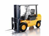 3d white people driving a forklift truck. — Stock Photo