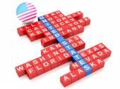 3d-Verenigde Staten land concept. Kruiswoordraadsel met letters — Stockfoto