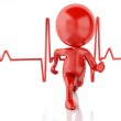3d running people with heartbeat. Medical concept — Stock Photo #68687693
