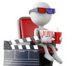 3d white people with clapper board, popcorn and drink. — Stock Photo
