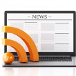3d Laptop with news and RSS symbol. Media concept — Stock Photo #70072223