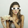 Young woman watching a movie. Cinema concept — Stock Photo #70195167