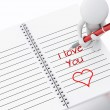3d white people writing i love you on notebook page. — Stock Photo #73807761