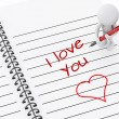 3d white people writing i love you on notebook page. — Stock Photo #73807769