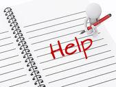 3d-witte mensen schrijven help op laptop pagina. — Stockfoto