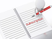 3d white people writing subscription on notebook page. — Stock Photo