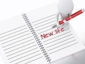 3d 的白种人,笔记本页面上写入新的生活. — 图库照片