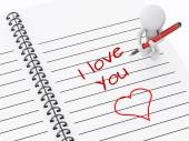 3d white people writing i love you on notebook page.  — Foto Stock