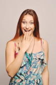 Beautifull woman with surprised expression. — Stock Photo