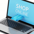 3d Laptop pc with credit card. Online purchase — Stock Photo #78182660