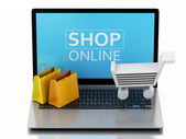 3d Shopping cart on Laptop. e-commerce  concept — Stock Photo