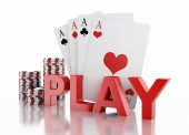 3d casino tokens and playing cards. Isolated white background — Stock Photo