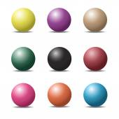 Set of colorful ball glossy spheres on white. Vector illustratio — Stock Vector