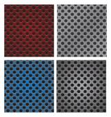 Set of seamless circle perforated carbon speaker grill texture v — Vettoriale Stock