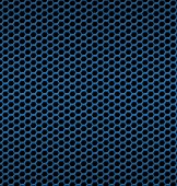 Blue aluminum Technology background with black hexagon perforate — Stockvector