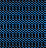 Blue aluminum Technology background with black hexagon perforate — Vecteur