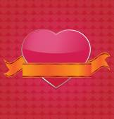 Big pink heart with ribbon on heart pattern background vector il — Vettoriale Stock
