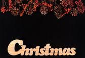 乾燥果実、コーン、ブラック パインの背景を書いてクリスマス — ストック写真