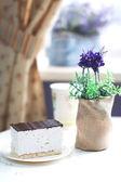 Souffle doux sur une plaque au café — Photo