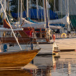 Yachts and pleasure boats parked with anchor in the closed harbour. — Stock Photo #69728107