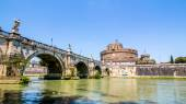 View of Castel Sant'Angelo from under the bridge , Rome, Italy — Stock Photo