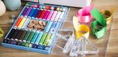 Sewing accessories on wooden table — Stock Photo