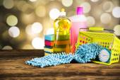 Composition of cleaning products — Stock Photo