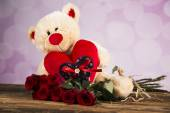 Day of love, Valentine's Day, roses and a teddy bear. — Photo