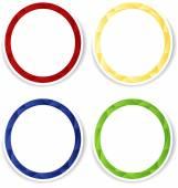 Conjunto de cuatro marcos de círculo colorido con copyspace blanco. — Vector de stock