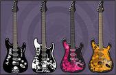 Electric Guitars art vector Pack 3 — Stock Vector